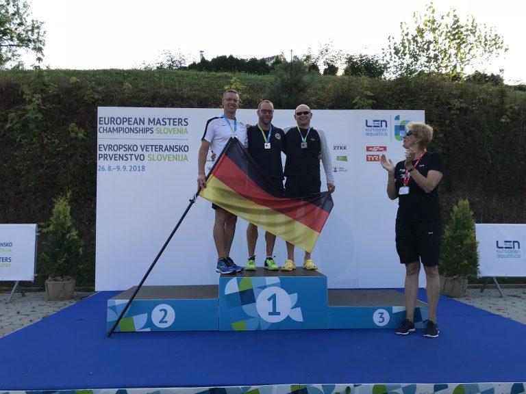 Frank Gruner - Siegerehrung über 400m Freistil bei den Masters - Europameisterschaften in Kranj