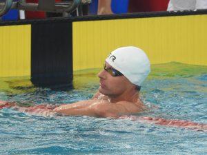Frank Gruner - Nach dem Anschlag über 100m Freistil bei den Deutschen Meisterschaften der Masters in Braunschweig
